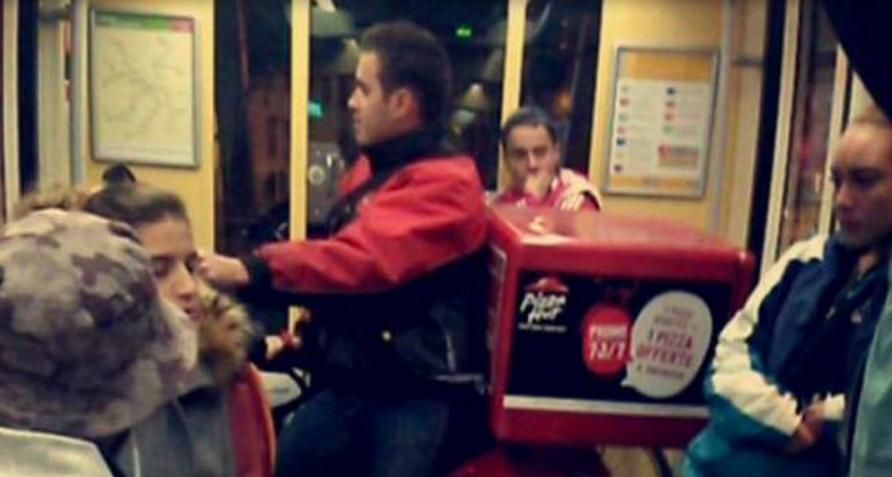 Pizza Hut Delivery Guy Takes Tramway on His Scooter