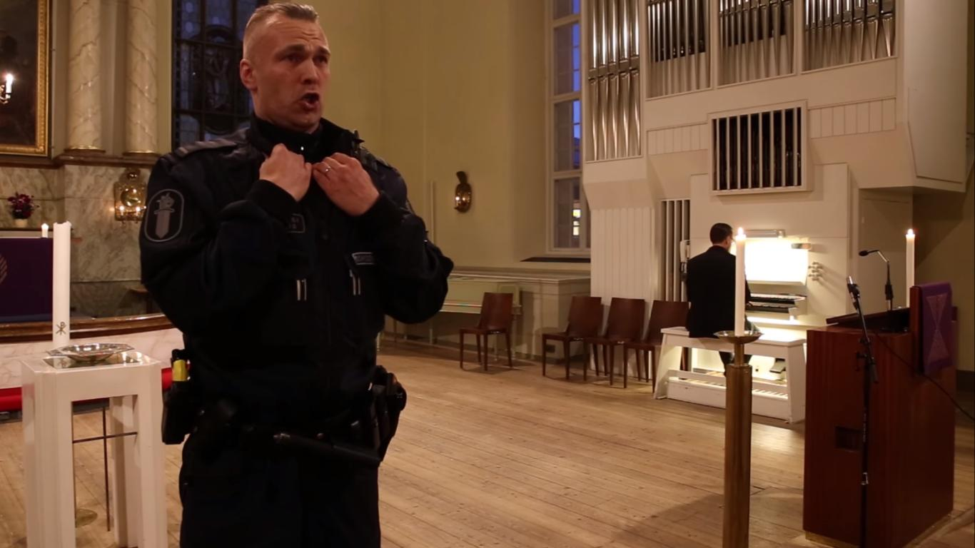 Finish Policeman Sings For Christmas in a Cathedral