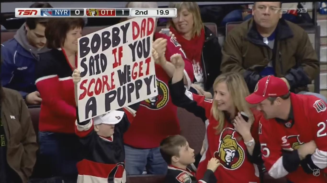 This Dad Promised a Puppy to His Children If Hockey Player Scored