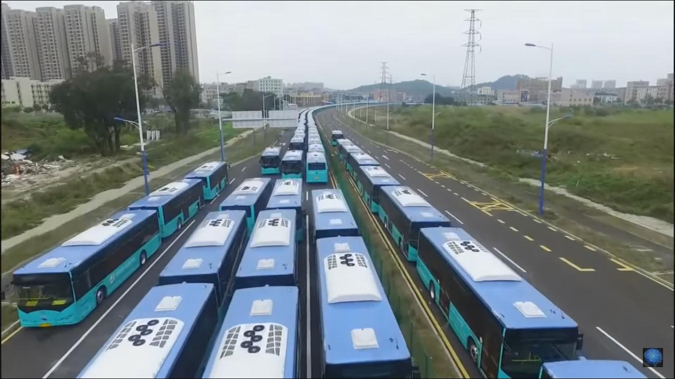 Hundreds of Electric Buses on the Road During a Delivery in China