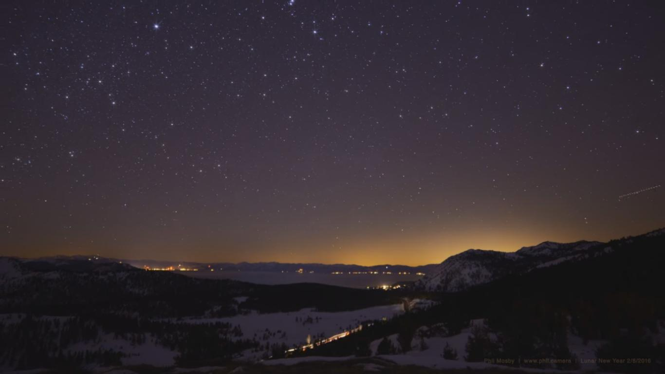 Beautiful Timelapse of a Night over a Lake in the Mountains