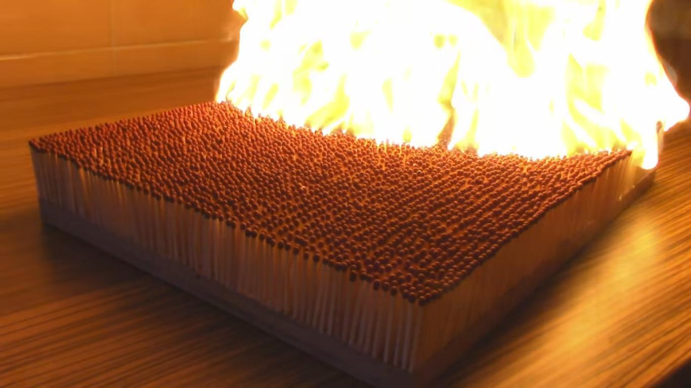 6000 Matches Burst Into Flames in a Beautiful Chain Reaction