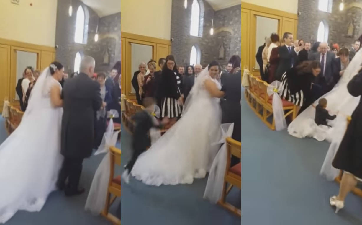Kid Jumps on the Bride's Dress During Her Wedding