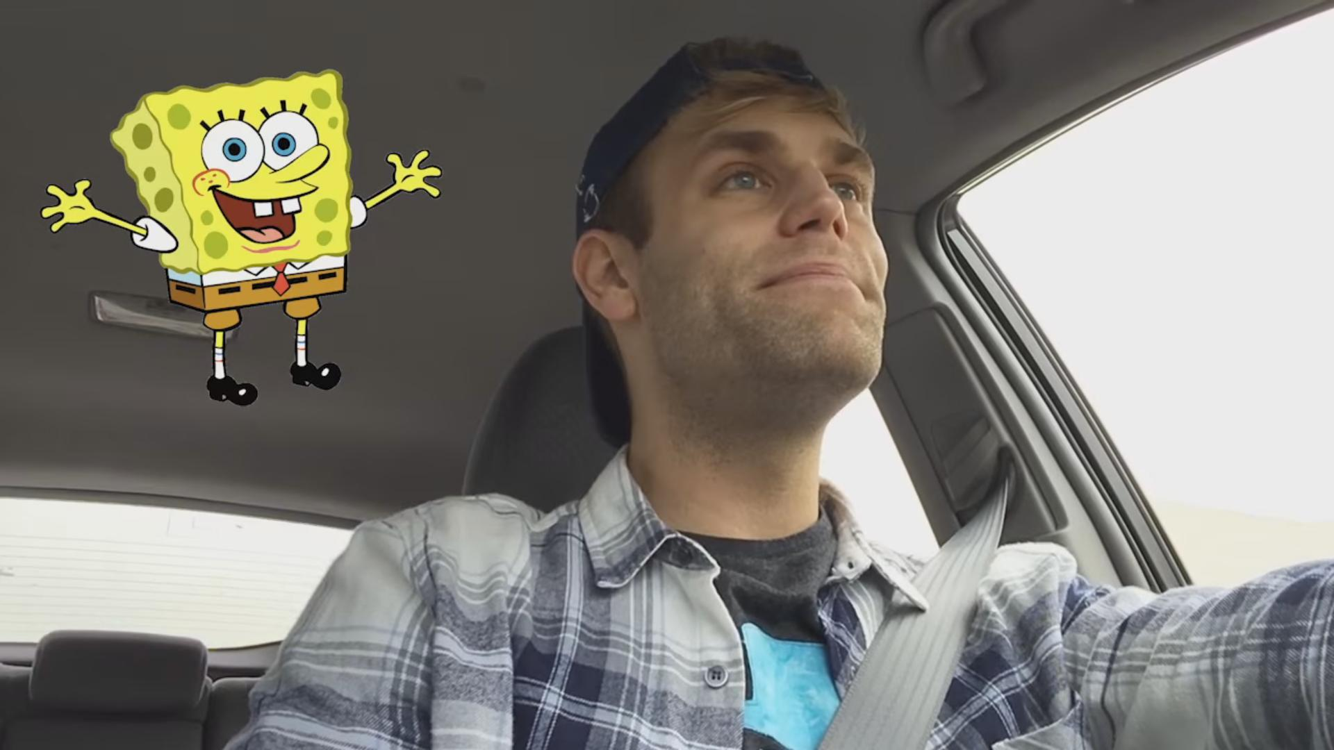 He Makes Impressions of the SpongeBob Characters in His Car