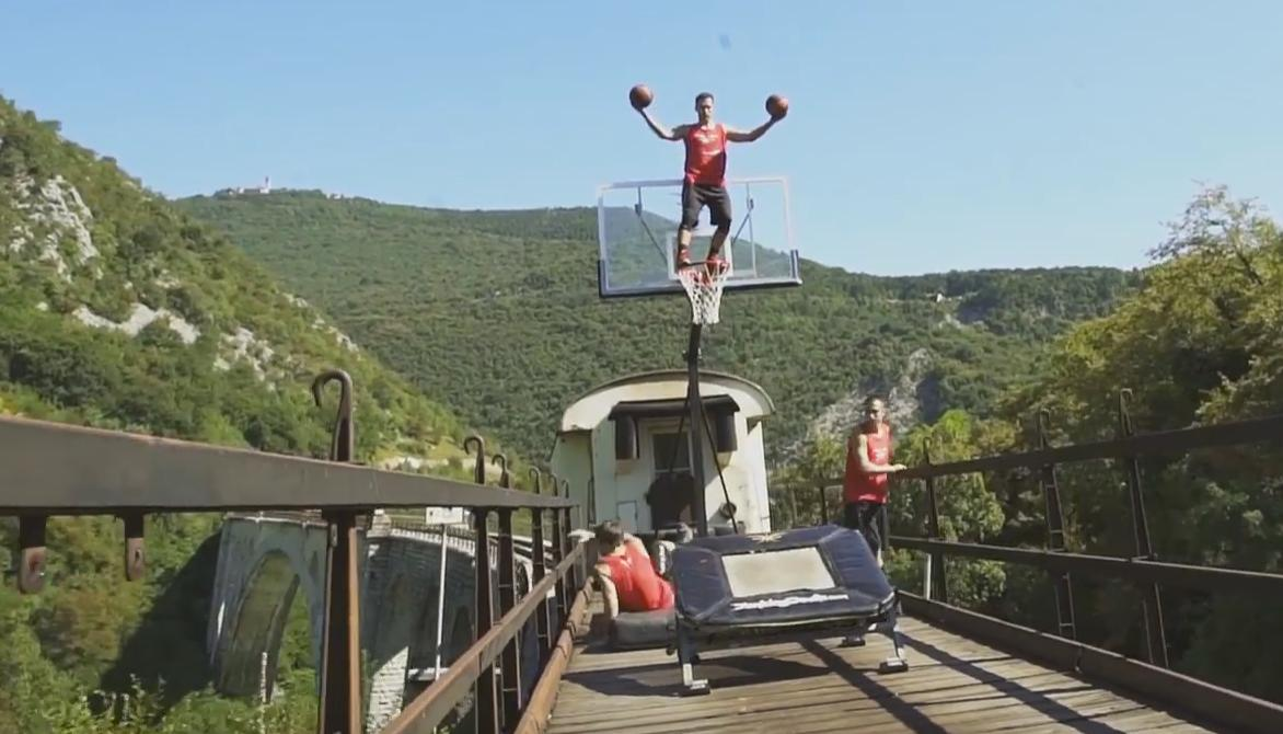 Most Insane Basketball Tricks on a Moving Train